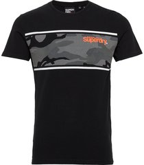 core logo camo stripe tee t-shirts short-sleeved svart superdry