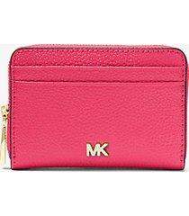 mk portafoglio mercer piccolo in pelle martellata - rosa intenso (rosa) - michael kors