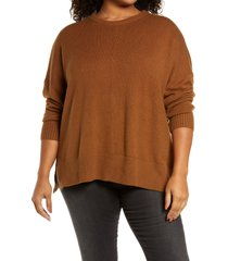 treasure & bond crewneck pullover, size 1x in brown toffee at nordstrom