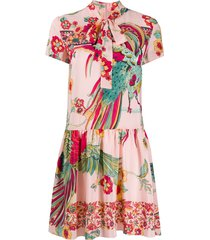 redvalentino birds of paradise in the forest mini dress - pink