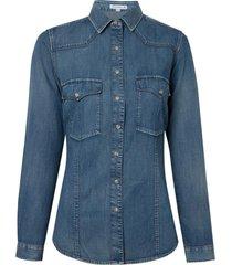 camisa dudalina manga longa jeans com bolsos vintage feminina (jeans medio, 46)