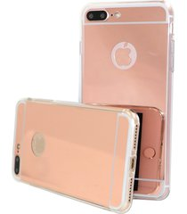 stylish shock defense hd reflective mirror case apple iphone 7 plus (rose gold)