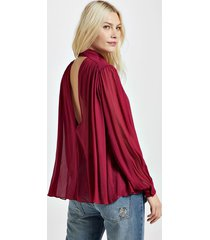 camisa decote v bordeaux com manga longa e gola vermelho disco - 40