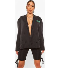 oversized getailleerde blazer met contrasterende zakken, black
