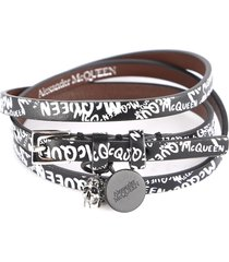 alexander mcqueen graffiti print leather bracelet with skull