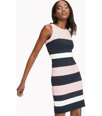 tommy hilfiger women's essential stripe sleeveless dress ballerina pink / sky captain / ivory - 18