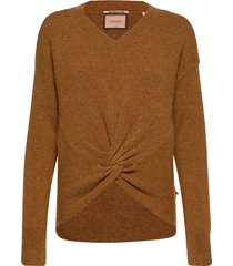 crewneck knit with knot detail at hem gebreide trui bruin scotch & soda