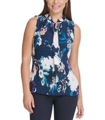 dkny floral tie-neck pleated top
