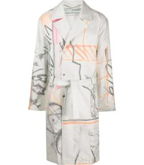 white multicolored futura trench coat