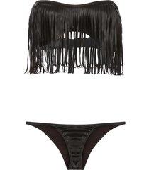 lisa marie fernandez natalie fringe bikini set - brown