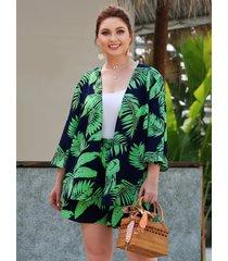 plus talla verde traje tropical de dos piezas con cintura elástica