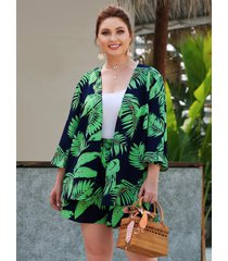 conjunto tropical de dos piezas con cintura elástica verde de talla grande