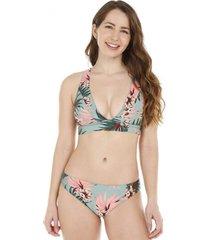 bikini flores con brillo y amarras traseras h2o wear