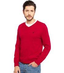 sweater nautica cuello v rojo - calce regular