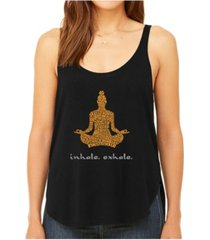 la pop art women's premium word art flowy tank top- inhale exhale