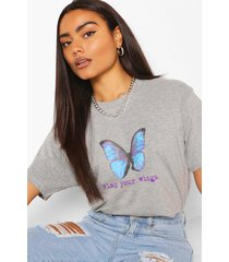 flap your wings graphic t-shirt, grey