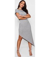 asymmetrische midi-jurk, grijs