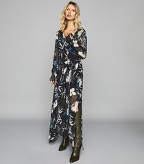 reiss carina - floral printed midi dress in navy, womens, size 14