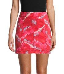 modern femme tie-dye denim skirt