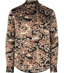 edward crutchley cloud-print shirt - brown