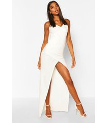 tall wrap maxi dress, ivory