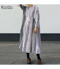 zanzea étnico estilo geométrico bolsillos larga túnica womem o cuello del vestido largo de flores -blanco