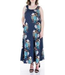 plus size floral print sleeveless pocket maxi dress