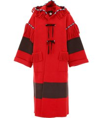 alanui felt coat with embroidery