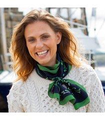 navy & green shamrock silk scarf