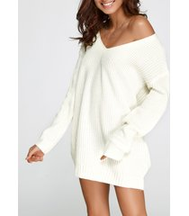 vestido suéter de punto con cuello en v y escote en v de gran tamaño blanco