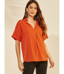 yoins orange revere collar half sleeves tee