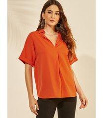 yoins camiseta naranja de media manga con cuello reverente