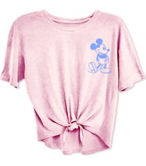 freeze 24-7 trendy plus size mickey mouse tie-front t-shirt