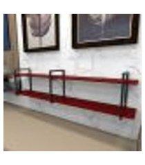estante industrial aço preto 180x30x40cm (c)x(l)x(a) mdf vermelho modelo ind39vrest
