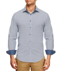 tallia men's slim fit geo flower print long sleeve shirt and a free face mask