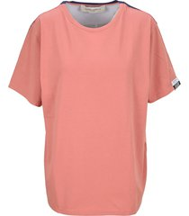 golden goose pink aira t-shirt with print and lettering on the back