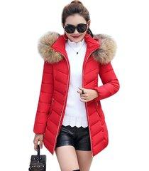 longitud mediana moda mujer invierno manga larga ropa de algodón acolchada con sombrero