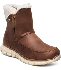 womens synergy - waterproof shoes boots ankle boots ankle boot - flat brun skechers