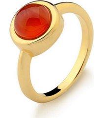 anel infantil solitário agata vermelha pedra natural di capri semi jóias x ouro incolor - tricae