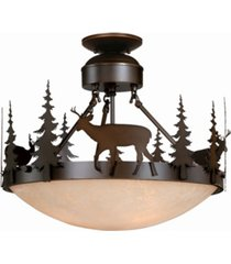 vaxcel bryce amber glass rustic deer semi-flush mount light or pendant
