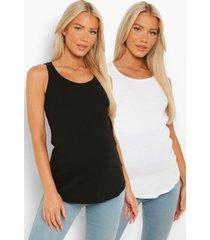 zwangerschap geribbelde hemd met lage ronde hals (2 stuks), blackwhite