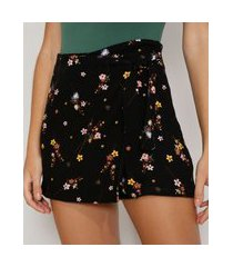 short saia feminino cintura alta transpassado estampado floral preto
