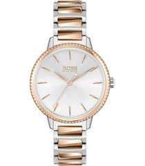 boss women's signature two-tone stainless steel bracelet watch 34mm