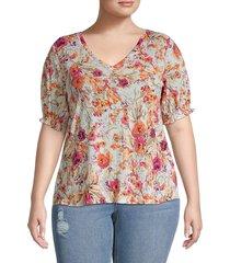 bobeau women's plus floral smocked trim blouse - budapest floral - size 1x (14-16)