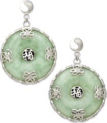 sterling silver earrings, jade circle flower overlay earrings