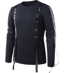 pu leather strap round neck t-shirt