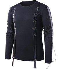 pu leather strap round neck t-shirt