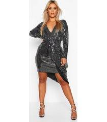 plus metallic gedrapeerde midi jurk met laag decolleté, zilver
