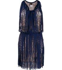 jean paul gaultier pre-owned 2000s swirl print dress - blue