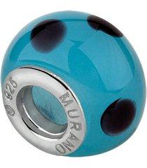 berloque joia em casa separador murano azul bola prata